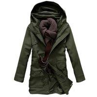 Мужская траншея пальто левого рома 2021 мода мужской высококачественный теплый зима длинные куртки толстовки / мужчины Досуг хлопка мягкая одежда пальто