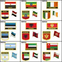 Albania Algeria Afghanistan Montenegro Argentina U.A.E. Oman Azerbaigian Egitto Etiopia Irlanda Estonia Ferro sul ricamo Bandiera Patch Badge