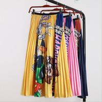 Karikatur-Kaninchen-Regenschirm Faltenrock Frauen Karikatur-Tier-Druck-hohe elastische Leopard Midi-Rock Big Swing Street Hohe Taille Rock