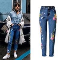 Тощие женщины вышивка джинсы Slim Fit прямая высота талии женский джинсовые Женские брюки мода Женская уличная одежда TOP225#