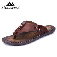 ALCUBIEREE Marken Mens Casual Schuhe aus Leder Sportschuhe für Herren Pantoffeln für Slats 2018 Sommer-Schuhe