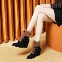 2019 Binicilik Sıcak Satış-Dişi Hakiki İnek Deri Kadın Sivri Burun Botlar Ayakkabı El yapımı Bilek Siyah Bilek Boots Natürel takozları Topuklar