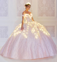 2020 Luuxry Floral Quinceanera Dresses Embroidery Off The Sh...