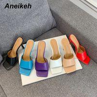 Aneikeeh Neue 2020 Sommer Frauen Slipper Quadratische Zehe Dünne High Heel Damen Sandale Maultiere Hohe Qualität Elegant Kleid Schuhe Slides Y200423
