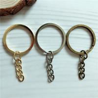 Blank 30mm sostenedor del metal del llavero del niquelado anillo partido de Mando clave Anillas de bronce hombres de las mujeres de oro de bricolaje llaveros Accesorios