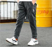 2019 printemps et automne nouvelle mode jeans fille enfants bébé pantalon gris pantalon marée 2-7 8 ans de 3 t jeans filles déchirées jeans