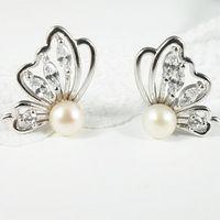 gioielli orecchini in argento S925 butterfy Orecchini di perle di forma per le donne Free of Shipping