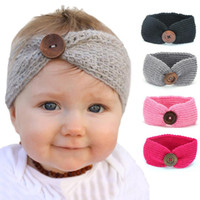 Baby Girl Buttons Headband Kids Wool Knitted Headbands Toddl...