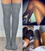 블랙 그레이 레드 7 색 패션 섹시한 여성 니트 스타킹 허벅지 높은 이상 무릎 여자 숙녀 양말 긴면 스타킹