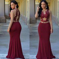 Borgoña Sheer manga larga de la sirena de los vestidos de noche formales de la joya 2020 Apliques africanas del cordón modesto Partido Árabe Prom Vestidos mujer Para