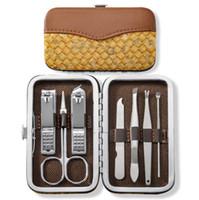 مسمار كليبرز مجموعة مقص الملقط سكين الأذن اختيار أداة مانيكير مجموعة الفولاذ المقاوم للصدأ مسمار أداة العناية مجموعات 7PCS / مجموعة LXL871Q
