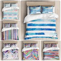 Conjuntos de ropa de cama Acuarela Raya Gráficos geométricos de tres piezas Cubierta de acolchado de funda de almohada