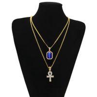 cadenas de oro Bastante Egipcio Ankh con rubíes rojo del colgante cruz collar de hombres Bling Hip Hop joyería