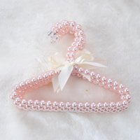 Plastic Pearl Beaded Bow Clothes Dress Coat Hangers Wedding for Kid Children Save-Space Storage Organizer Dry Rack
