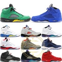 2019 Designer Mens 5 5S Basketballschuhe Camo Rot Blau Wildleder Oreo Schwarz Weiß Zement OG Metallic Olympic Gold Athletic Sport Sneakers 8-13