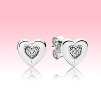 Amore a forma di cuore orecchino orecchino donne ragazze gioielli da sposa per Pandora 925 stelring argento oro rosa orecchini placcati con scatola originale