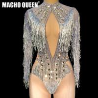 Cantante Rhinestone Fringe Body Drag Queen Costomes Fiesta Cumpleaños Burning Man Mono Cantante Escenario Espectáculo Desgaste de la danza latina