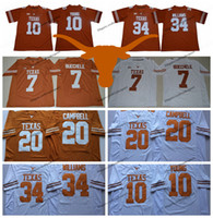 2019 Texas Longhorns 10 Vince Young 34 Ricky Williams 20 Earl Campbell College Football Jerseys 7 Shane Buechele Nuove camicie cucite arancioni