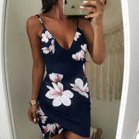 294fd1bd25e New Arrival. High quality Women camisole Summer Dresses Casual print Cami  Slip Ladies  wear Sexy Deep V neck Missy Strap ...