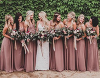 Dusty Rose Pink Long Chiffon Bruidsmeisjes Jurken Sweetheart Ruched Maid of Honour Jurken Wedding Party Town Plus Size Beach Prom Dresses