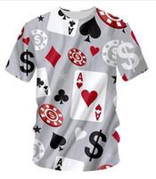 Новая Мода Покер Игры O Шеи Футболка Большой Размер Досуг 3D Печать Личность Свободные Тренировки Фитнес Футболки DX03