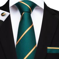 Быстрая доставка мужская галстука набор полосой мода зеленые галстуки галстук ченки запонки для костюма формальный бизнес повседневное Suitn-7094