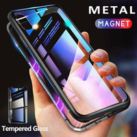 Estuche de metal con adsorción magnética para iPhone 11 Xr Xs Max X 8 Plus Cobertura completa Marco de aleación de aluminio con cubierta posterior de vidrio templado