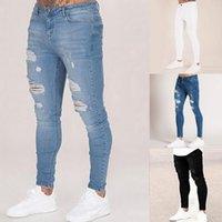 Oeak رجال الصلبة اللون جينز 2019 موضة جديد سليم سروال رصاص مثير هول عارضة ممزق تصميم الشارع الشهير CX200701