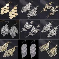 al por mayor de 30 pares mezclan estilos para mujer de la moda pendientes de metal de oro son marcas de plata cuelgan nuevo envío de la gota regalos del partido