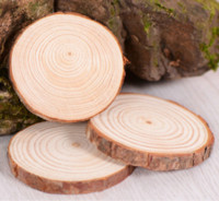 New Christmas Ornaments Wood DIY Small Wood Discs Circles Painting Round Pine Slices w  Hole n Jutes Party Supplies 6CM-7 CM