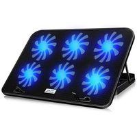 12-17 inç Laptop Soğutma Pedi Dizüstü Soğutucu USB Fan ile 6 Soğutma Hayranları Işık Dizüstü Dizüstü Bilgisayar için Sessiz Standı
