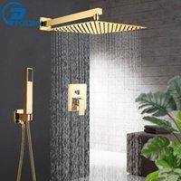 골든 욕실 샤워 수도꼭지 세트 3 가지 강우 시스템 벽 마운트 8 10 12 ''샤워 헤드 황동 욕조 홈통 핫 콜드 믹서 탭 T200612