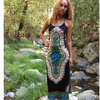 2019 Спагетти ремень платье Этнический Длинные Maxi пляж платье Племенной African печати платья Полночь Жрица Длинные платья Племенные платья женщин Maxi