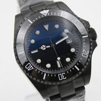 Wholesale Открытый 44 мМ синий и черный циферблат из нержавеющей стали Bracklet автоматические мужские часы с однонаправленным керамическим верхним кольцом BEZEL