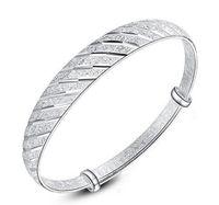 جديد خمر أجوستابل نحت سوار سوار أزياء 925 أساور الفضة مطلي مجوهرات للنساء سوار هدية لطيفة