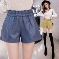 Mode coréenne Pu Shorts en cuir Faux femmes poches Elasticly taille haute court Feminino Printemps Casual Ropa De Mujer