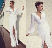 White Wedding Gown Long Sleeve Elegant Lace Split Simple Design Cheap Bridla Gown Beach Dresses Beautiful High Quality Formal Wear CG01