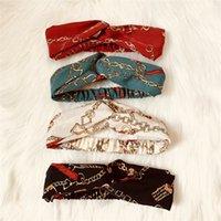 New Designer Croix Bandeau pour les femmes de la mode élastique chaîne en mousseline de soie imprimé Bandeaux Fille Turban tête Wraps Cadeaux HN195