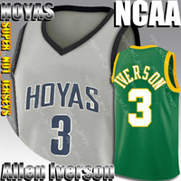 Allen 3 Iverson Basketball Georgetown Jersey Hoyas Stephen 30 Curry Larry 33 Bird Dwyane 3 Wade College Basketball Jersey 2-19