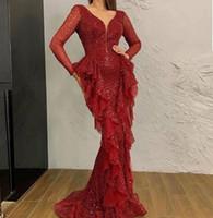 Brillant rouge Paillettes Sirène Robes De Soirée Col en V Profond À Manches Longues Ruches robes de soirée de Bal Robes Arabe Dubaï Robes de soirée de soirée