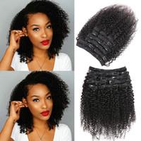 3B 3C Mongolian kinky curly clip in human hair extension for white women Short bob natural black 100g-160g Free ship