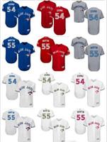 Пользовательские мужчины женщины молодости Торонто синий оптом Джейс Джерси # 54 Roberto Osuna 55 Russell Martin Blue белый серый бейсбол