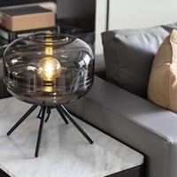 현대 유리 테이블 램프 예술 바 글로브 침대 옆 램프 산업 LED 데스크 램프를위한 연구 커피 침실 아이 방 홈 조명기구