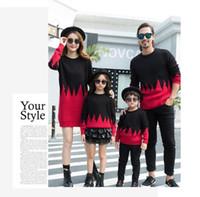 2019 Nuevos trajes de coincidencia de la familia de la llegada suéter rojo negro cómodo