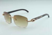 Tomada de fábrica mais recente A8-B3524012 Diamond Natural padrão preto chifre lente de diamante óculos de sol moda homens e mulheres óculos de sol ilimitados