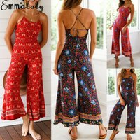 Elegant Sexy Jumpsuits Women Sleeveless Floral Printed Loose...