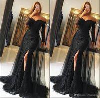 Siyah Dantel Gelinlik Modelleri 2018 Kapalı Omuz Uzun Kollu Mermaid Abiye Giyim Seksi Yan Bölünmüş Parti Elbise Custom Made