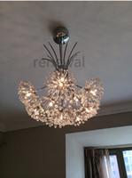 Modern candelabro de cristal Dandelion H 80 centímetros LED Crystal Light Com árvore abajur Para Sitting Room Início decorativa luminária