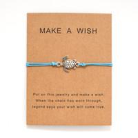 جعل الرغبة الصيف شاطئ نمط مجوهرات مع بطاقة الفضة البحر السلاحف السلحفاة سحر أساور للنساء الرجال رغبة هدية