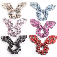 Ins Girl Hair Scrunchy With Rabbit Ear Student Easter Grid H...